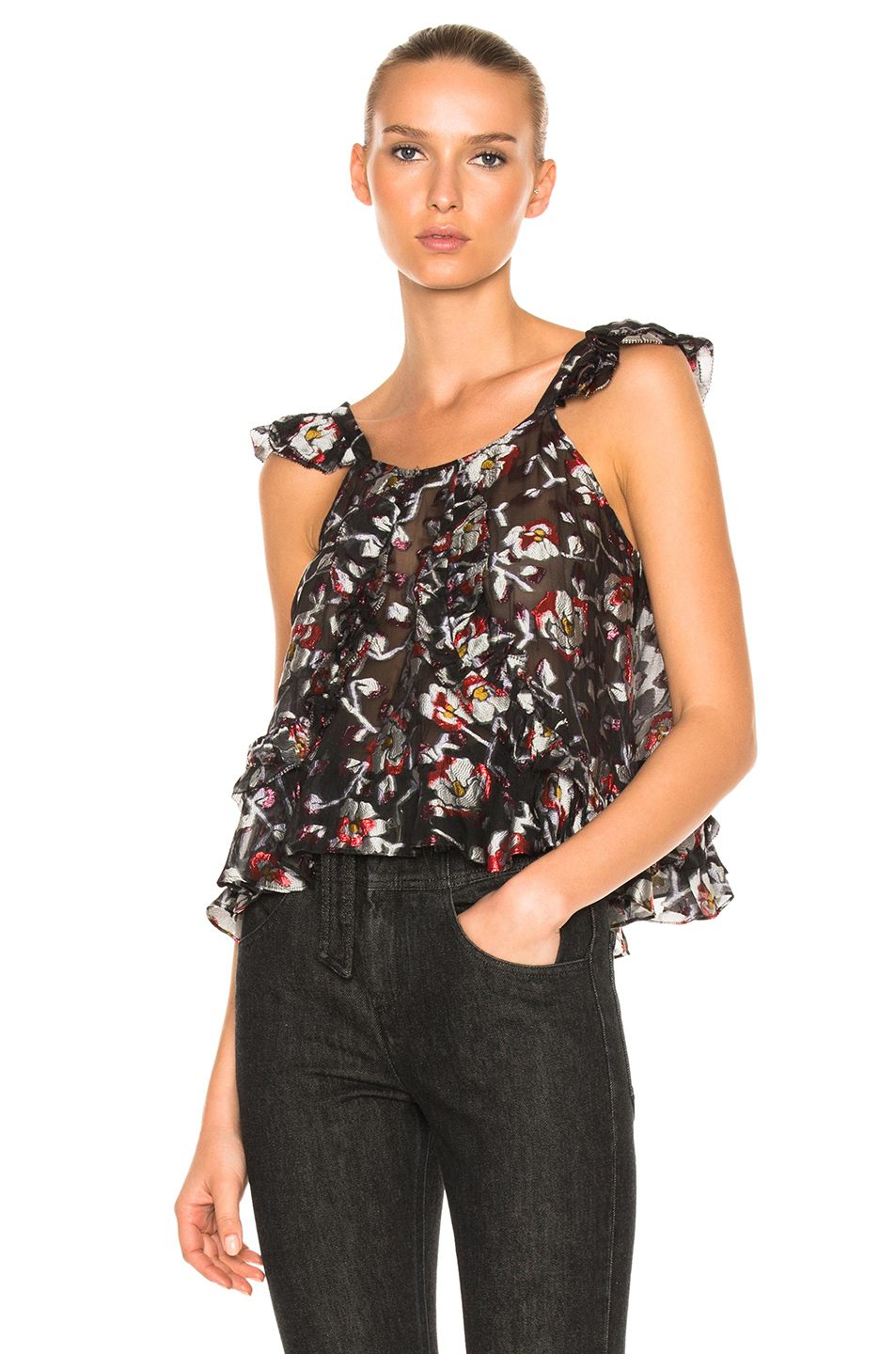 Isabel Marant Piety Top in Black,Floral,Gray,Purple,Red