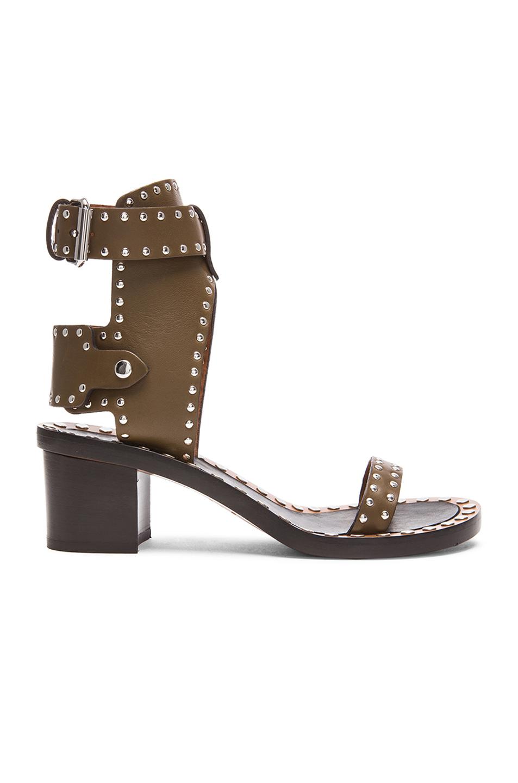 Isabel Marant Jaeryn Pomponius Calfskin Leather Sandals in Brown