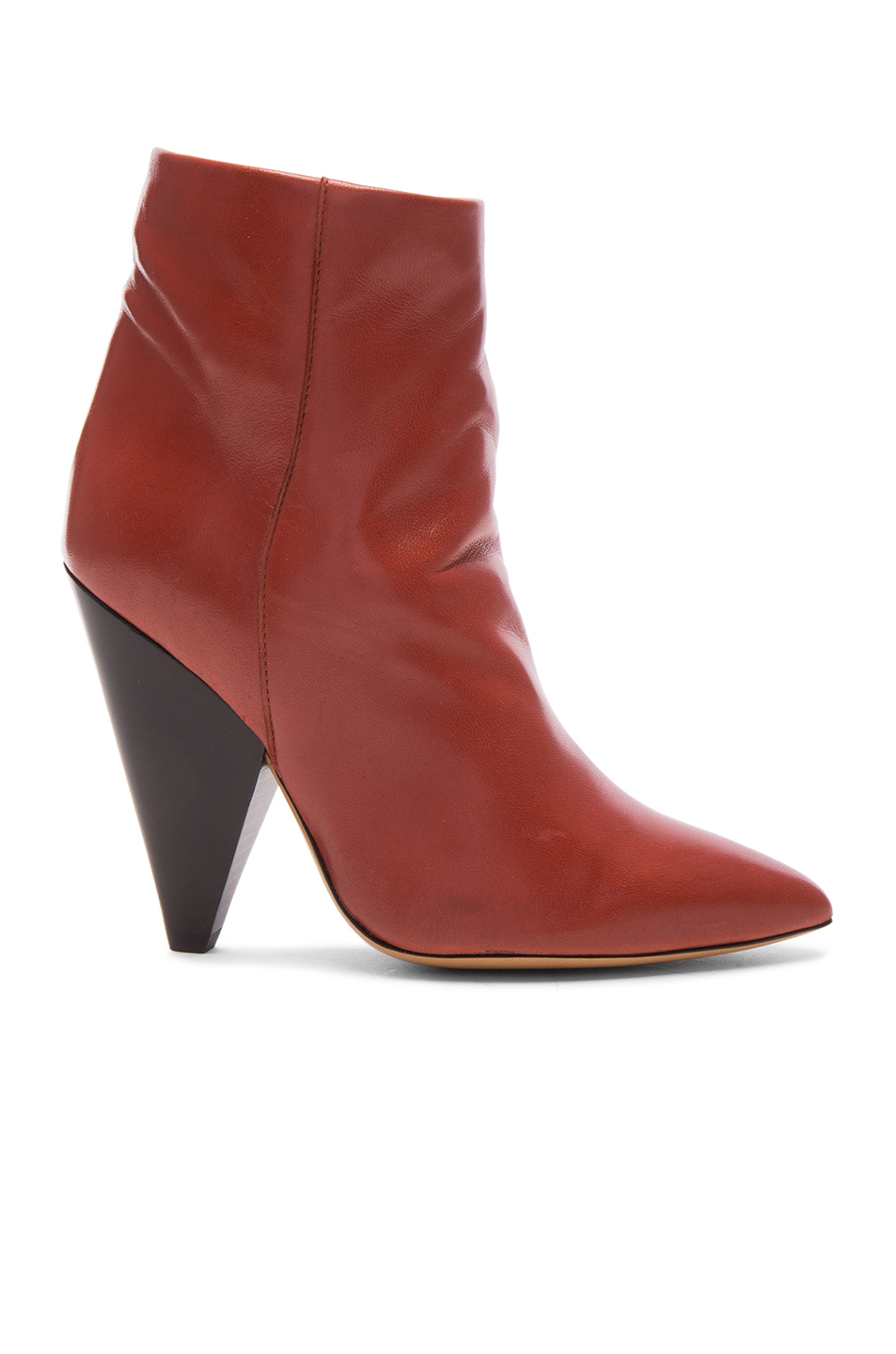 Isabel Marant Leather Leydoni Booties in Red