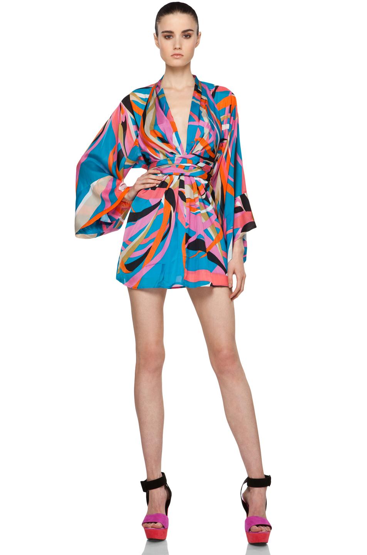 Issa Short Kimono Dress in Aqua Marine