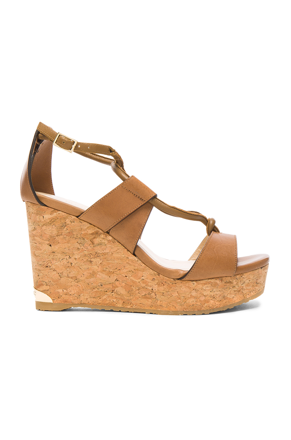Jimmy Choo Leather Nelson Wedges in Brown
