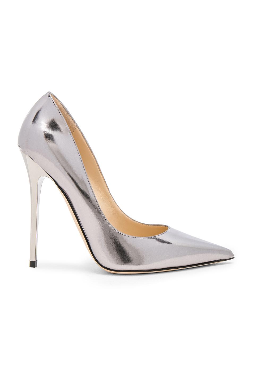 Jimmy Choo Mirror Leather Anouk Heels in Gray,Metallics
