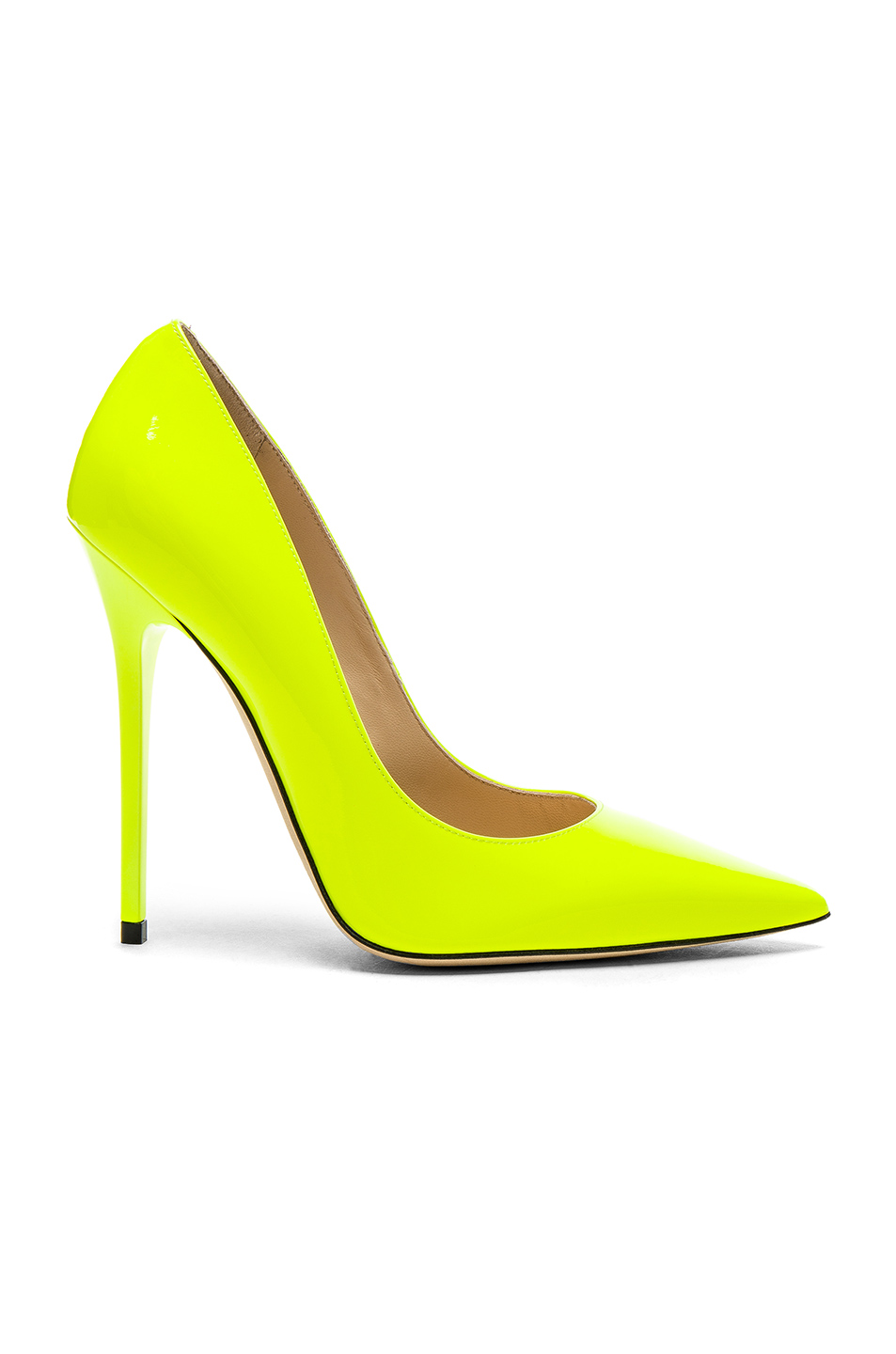 Jimmy Choo Neon Patent Leather Anouk  Heels in Yellow