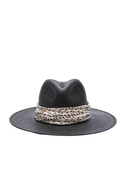 Janessa Leone Josephine Short Brimmed Panama Hat in Black