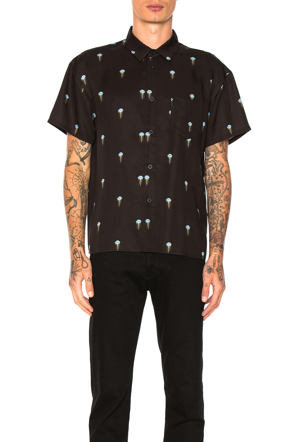 JOHN ELLIOTT Bowling Shirt in Abstract,Black,Blue