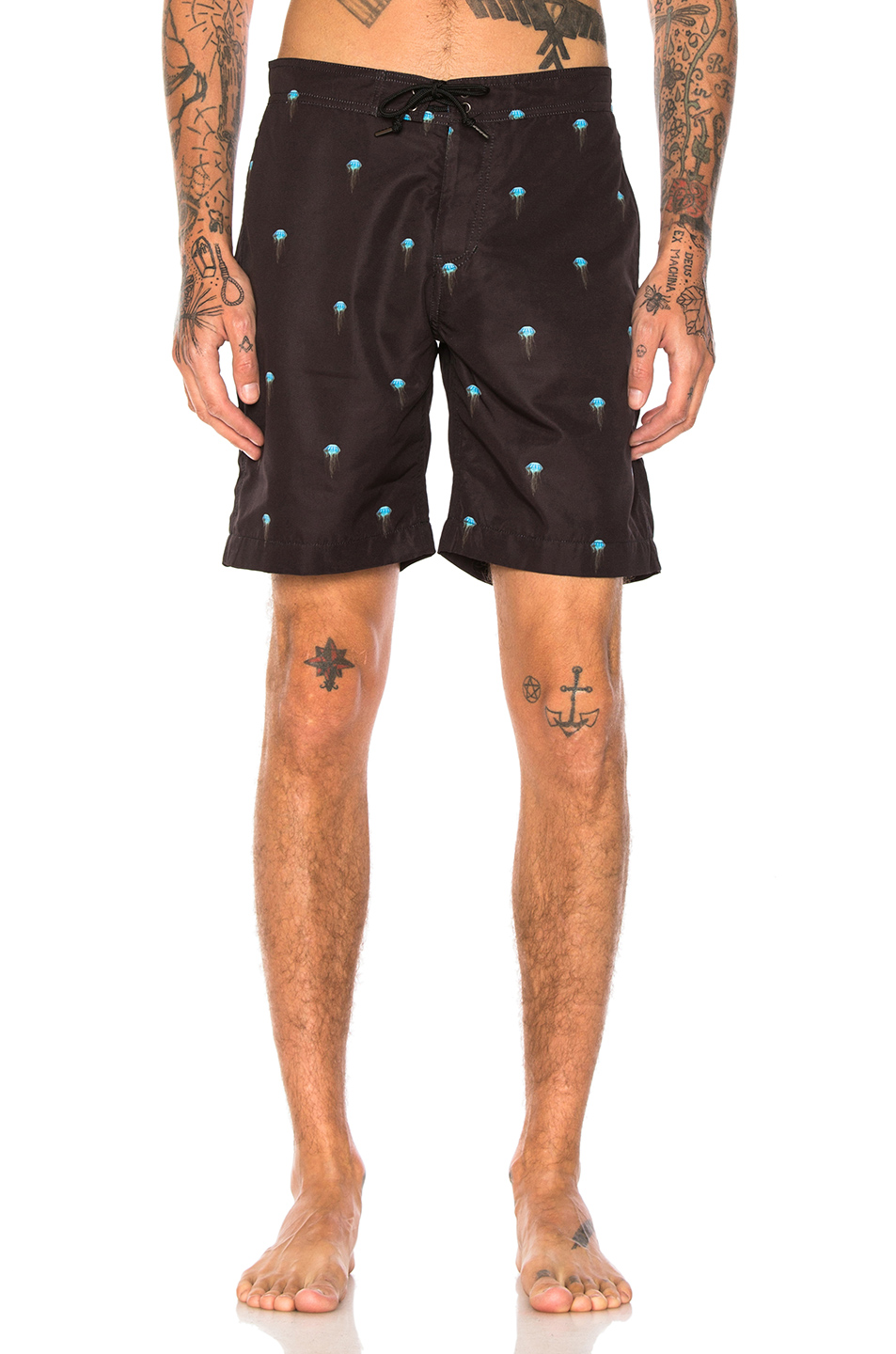 JOHN ELLIOTT Board Shorts in Abstract,Black,Blue
