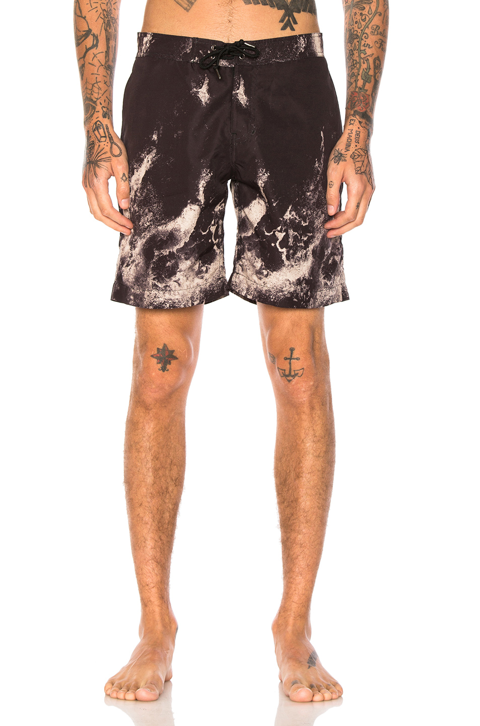 JOHN ELLIOTT Board Shorts in Abstract,Black,Neutrals