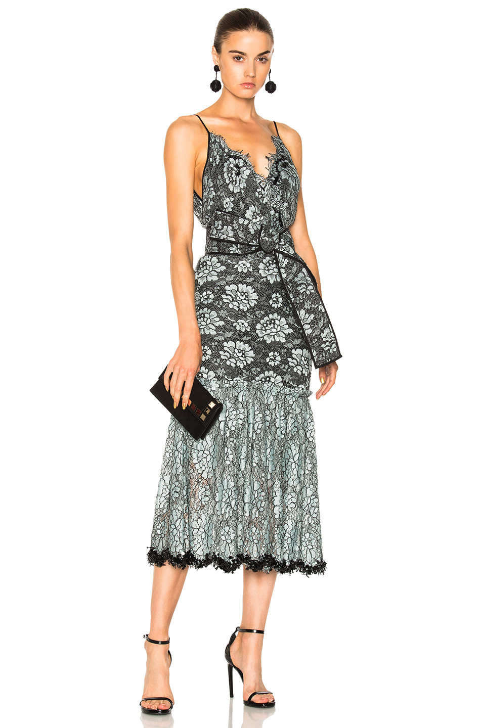 Johanna Ortiz Frontera Lace Embroidered Dress in Blue,Floral