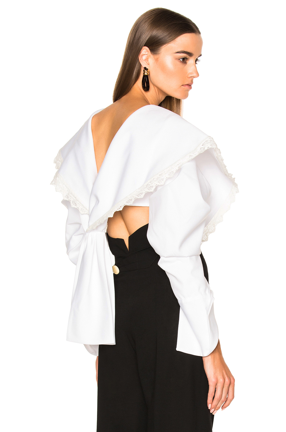 JACQUEMUS Cropped Long Sleeve Blouse in White