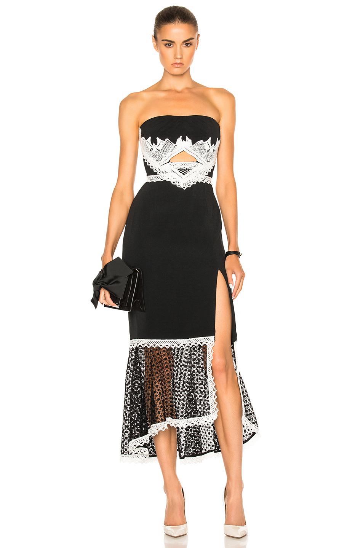 JONATHAN SIMKHAI Window Pane Lace Dress in Black