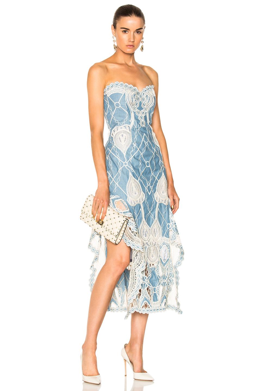JONATHAN SIMKHAI Crochet Embroidered Bustier Ruffle Midi Dress in Blue,White