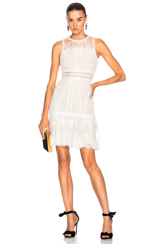 JONATHAN SIMKHAI Scallop Ripple Tier Ruffle Mini Dress in White