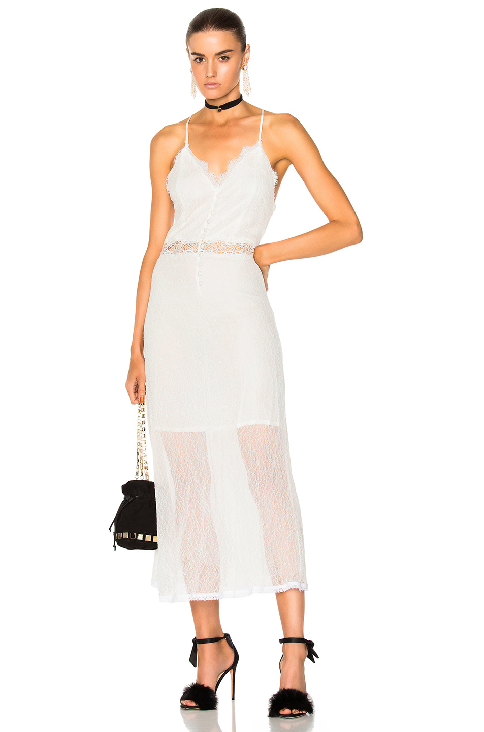 JONATHAN SIMKHAI Threaded Tulle Lace Nightgown in White