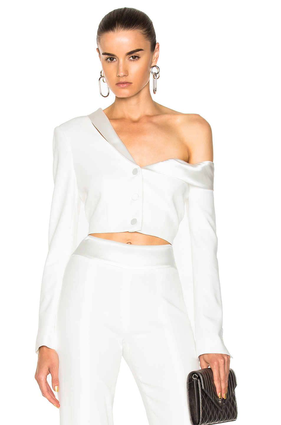 JONATHAN SIMKHAI Stretch Crepe Combo Crop Jacket in White