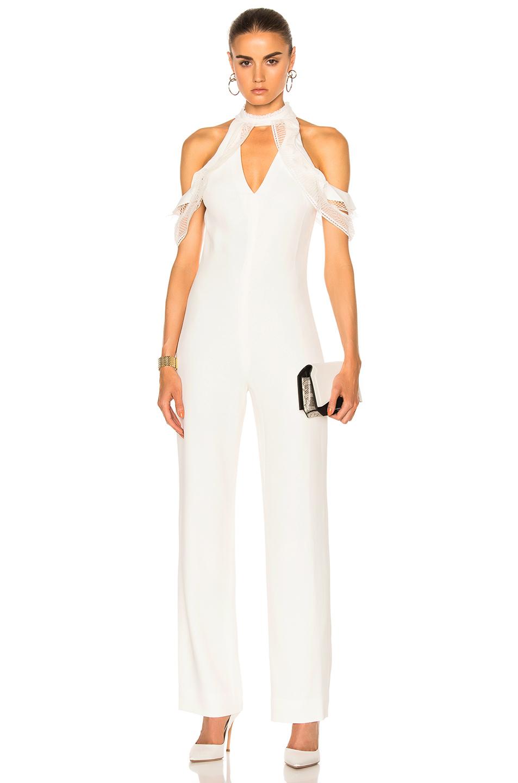 JONATHAN SIMKHAI Lace Ruffle Cold Shoulder Jumpsuit in White