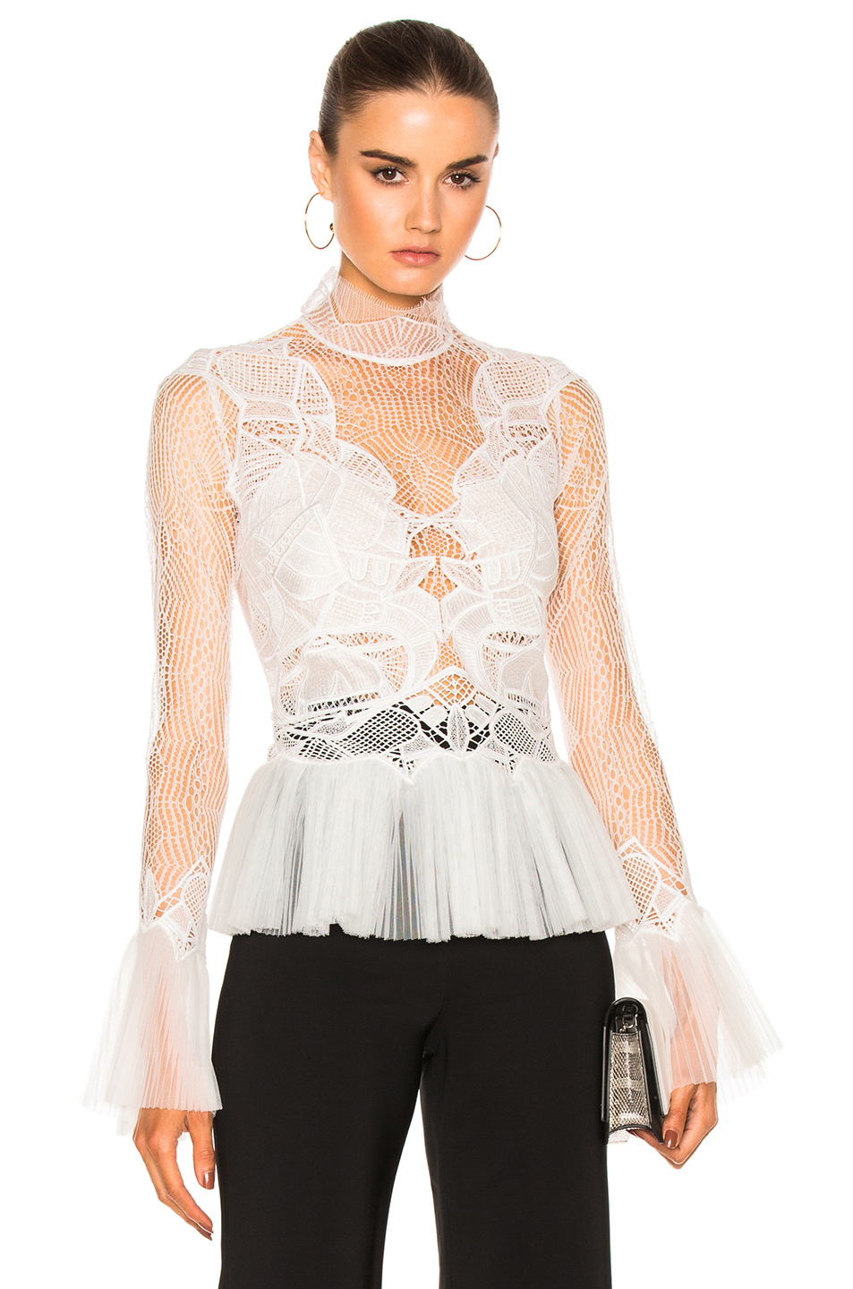JONATHAN SIMKHAI Linear Dome Pleated Top in White