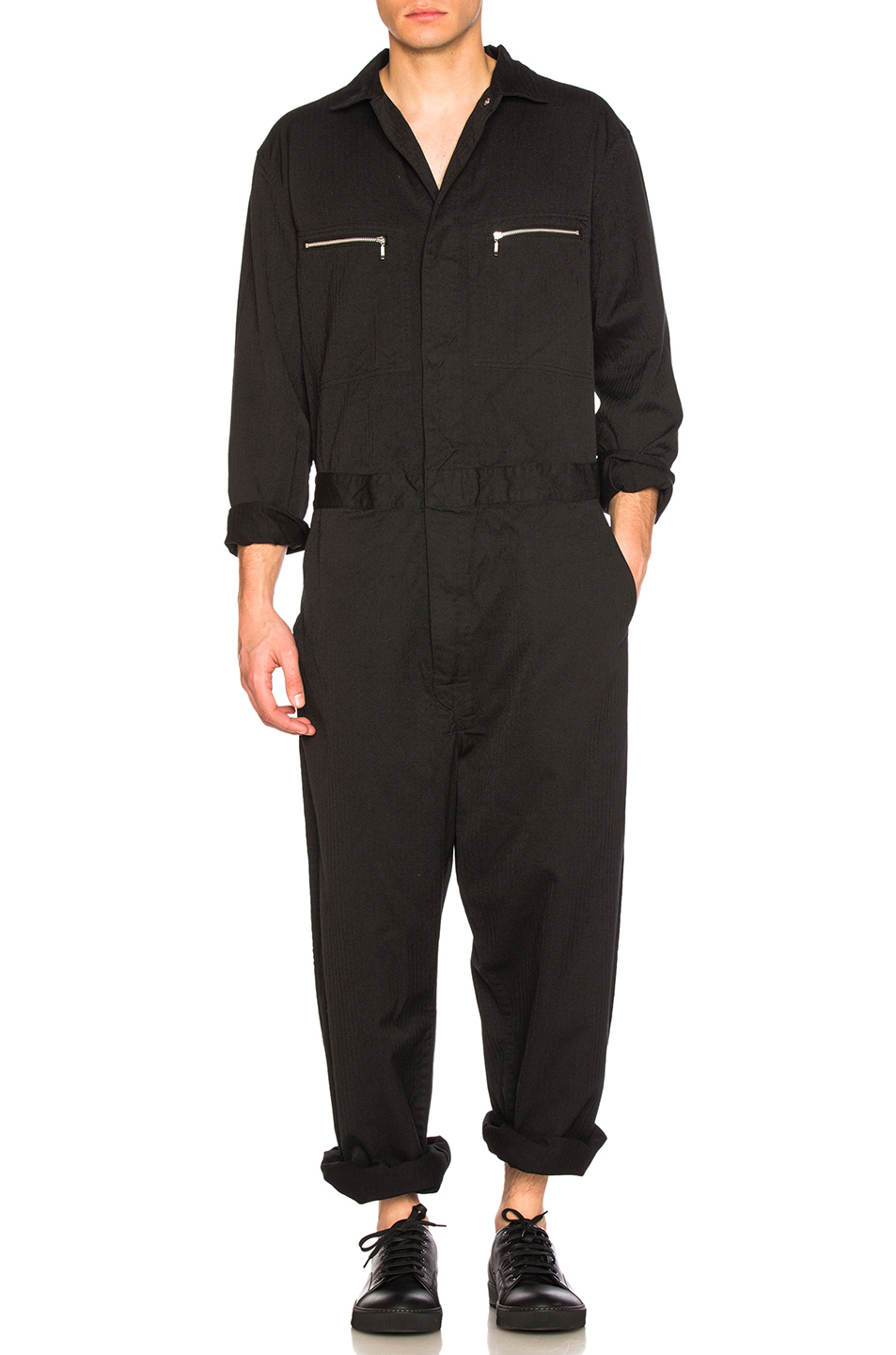 Junya Watanabe Cotton Polyester Herringbone Jumpsuit in Black