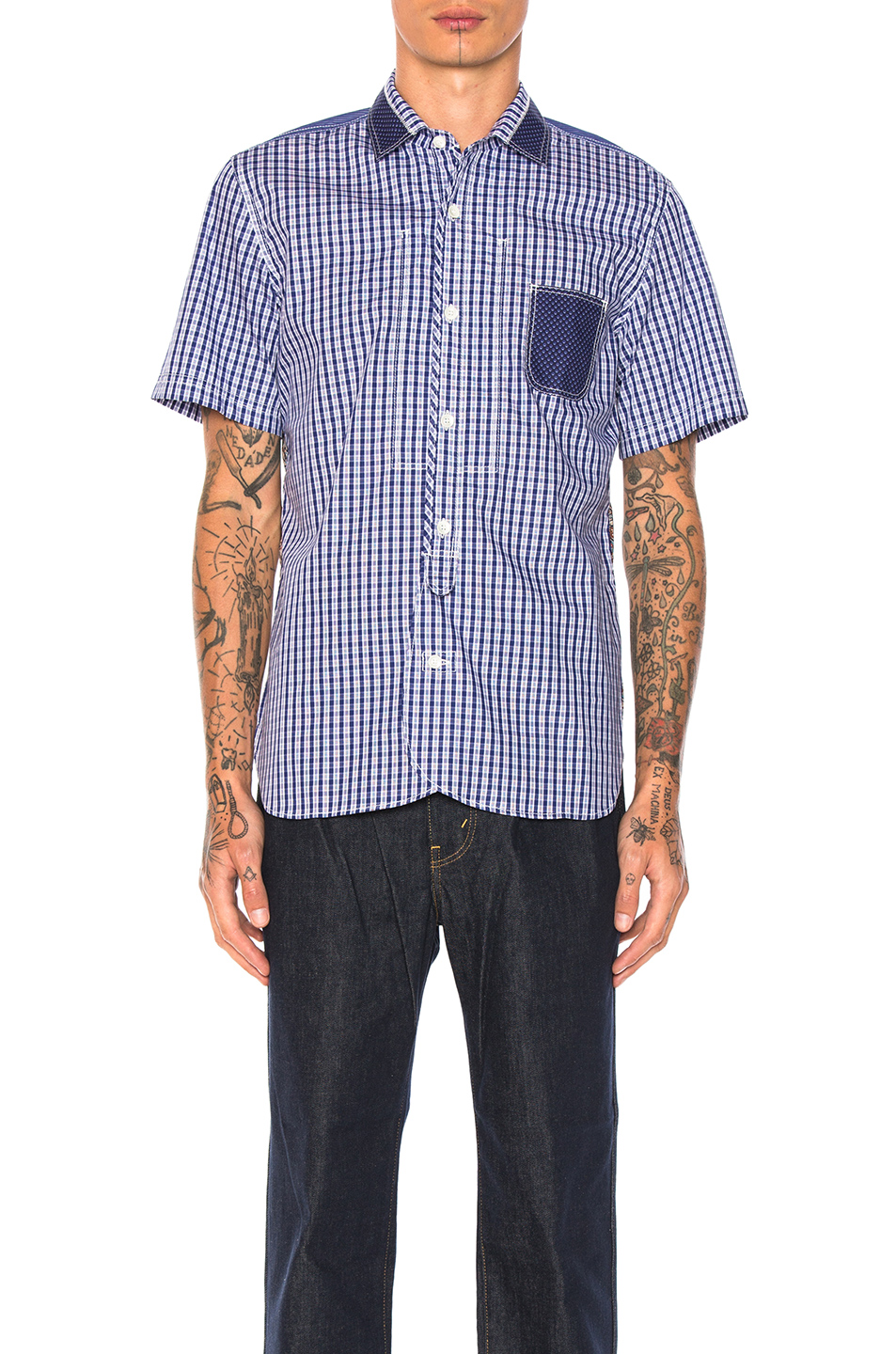Junya Watanabe Cotton Tartan Check & Cotton Stripe Shirt in Abstract,Blue,Checkered & Plaid,White