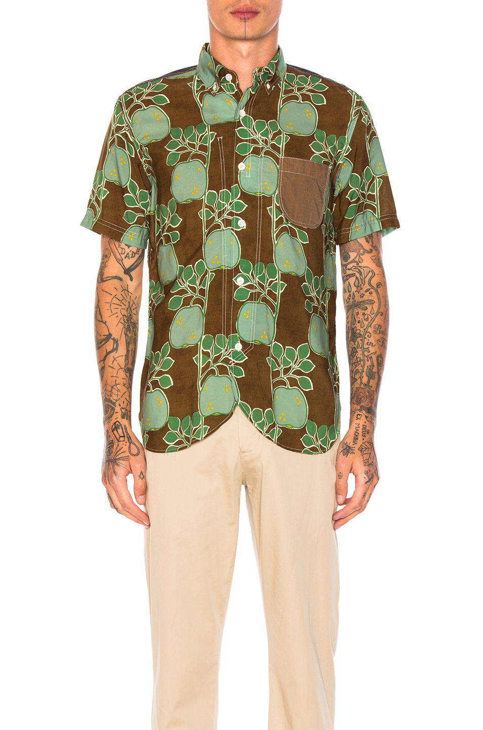 Junya Watanabe Cupra Modal Voile Print & Cotton Stripe Shirt in Brown,Green,Floral