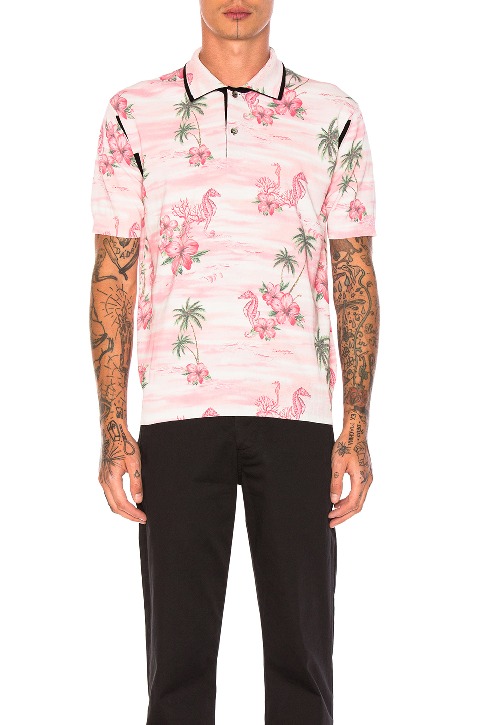 Junya Watanabe Thin Cotton & Wool Jersey Aloha Pattern Print Polo in Pink,Floral,Animal print