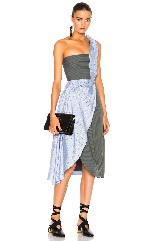 J.W. Anderson Beach Bodice Dress in Blue,Green,Stripes
