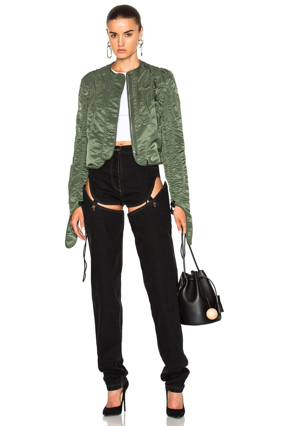 J.W. Anderson Cropped Corded Jacket in Green