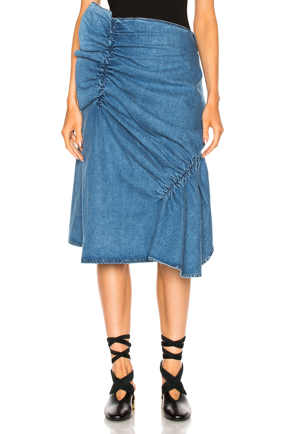 J.W. Anderson Patchwork Gathered Skirt in Blue