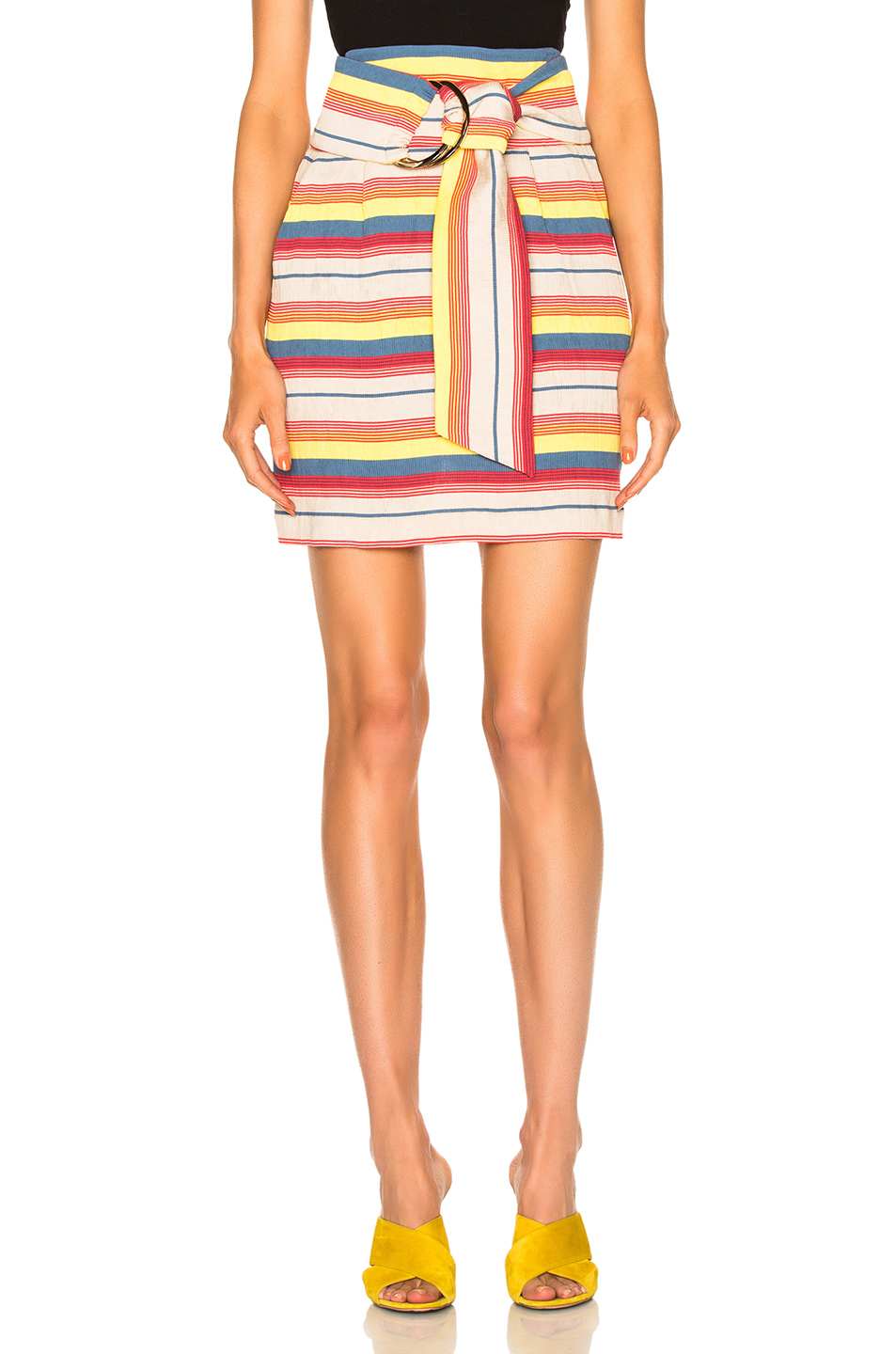 Kate Sylvester Julia Skirt in Stripes,Yellow,Neutrals