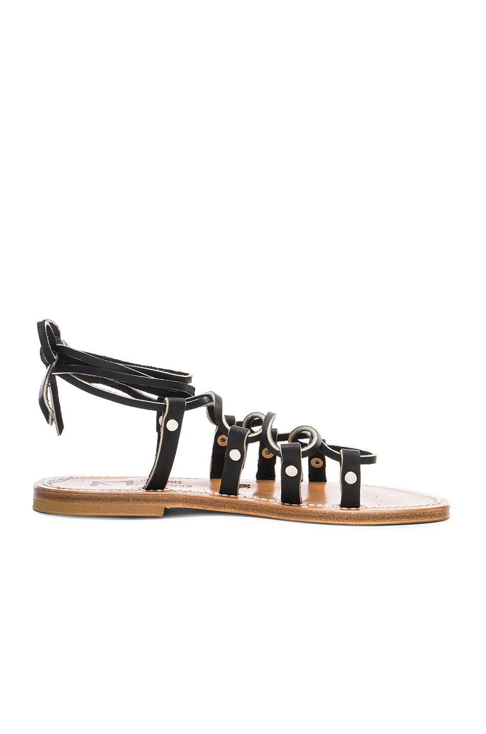 K Jacques Leather Chauvet Sandals in Black