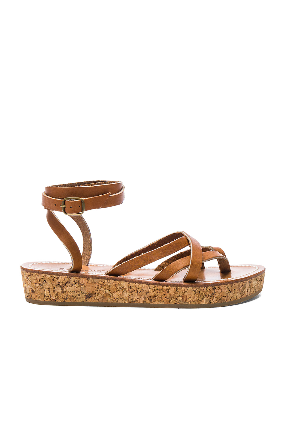 K Jacques Leather Avila Sandals in Neutrals