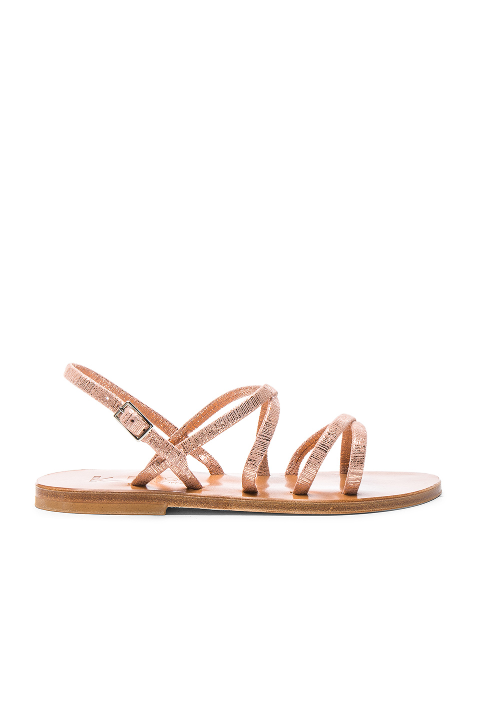 K Jacques Metallic Suede Batura Sandals in Metallic,Pink