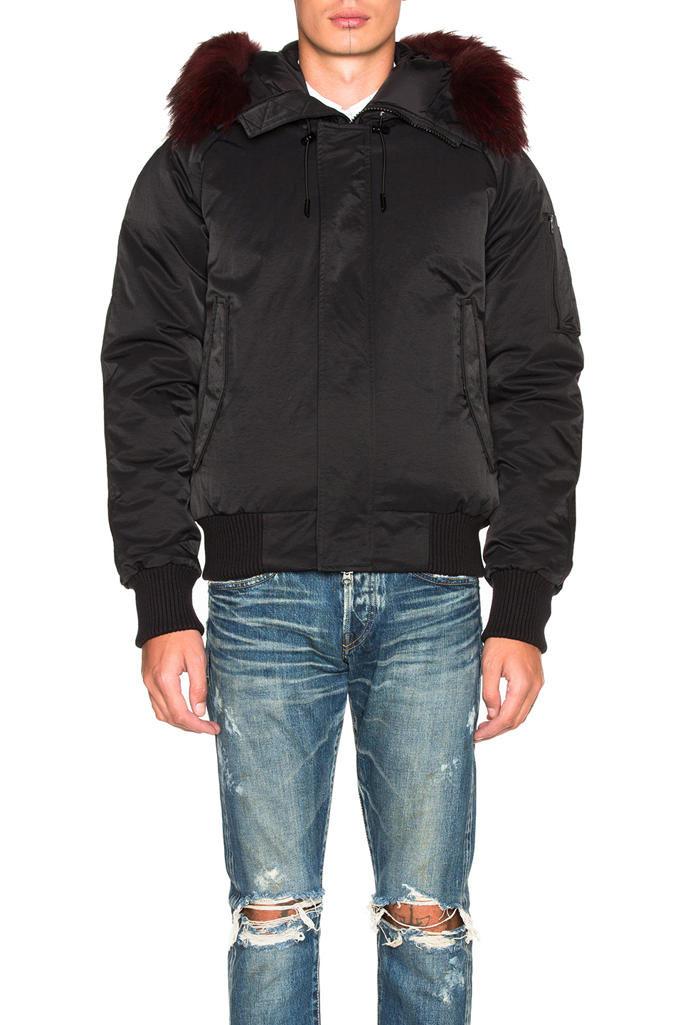 Kenzo Technical Nylon Parka with Fur Hood in Black