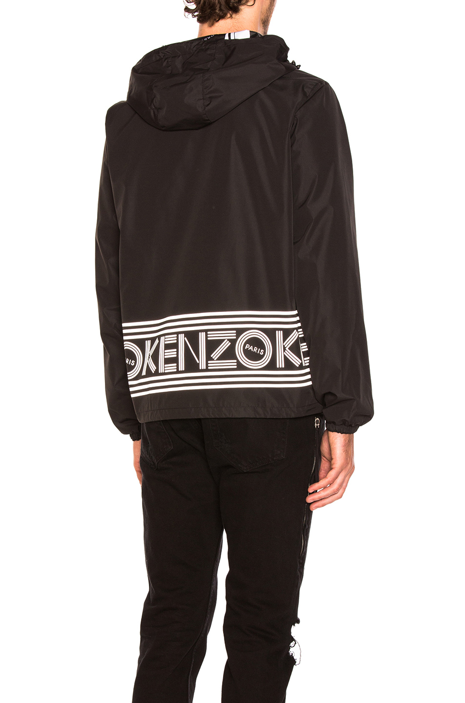 Kenzo Reversible Nylon Jacket in Black,Abstract