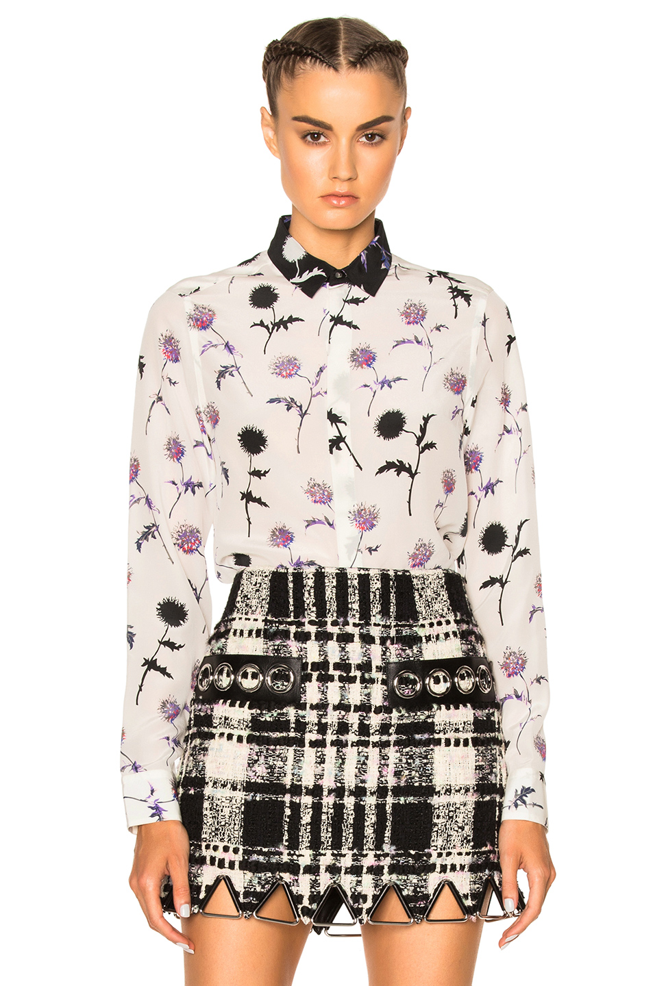 Kenzo Dandelion Long Sleeve Top in White,Floral