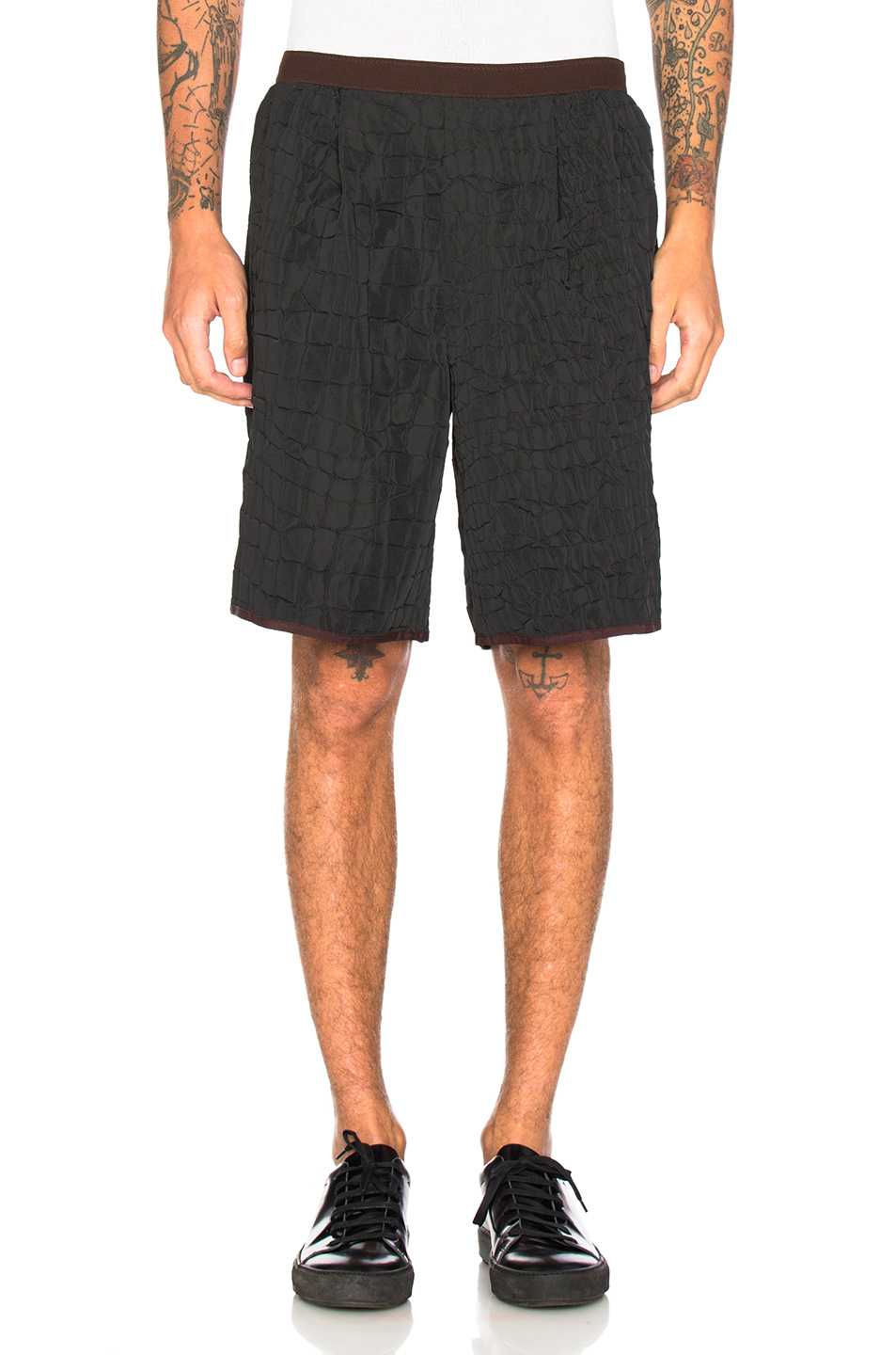kolor Croc Print Shorts in Black
