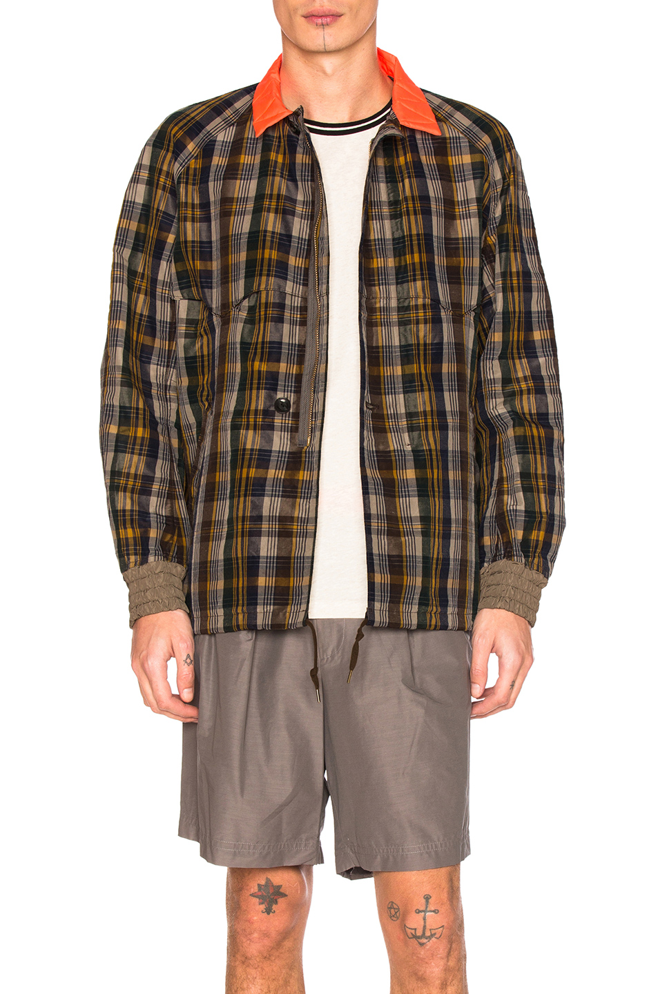 kolor Contrast Collar Jacket in Checkered & Plaid,Brown