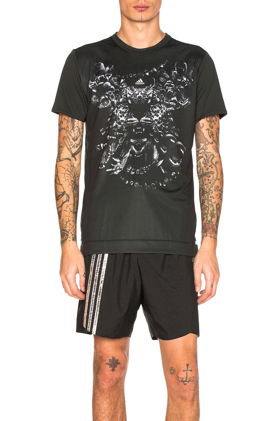 kolor x Adidas Graphic Tee in Black