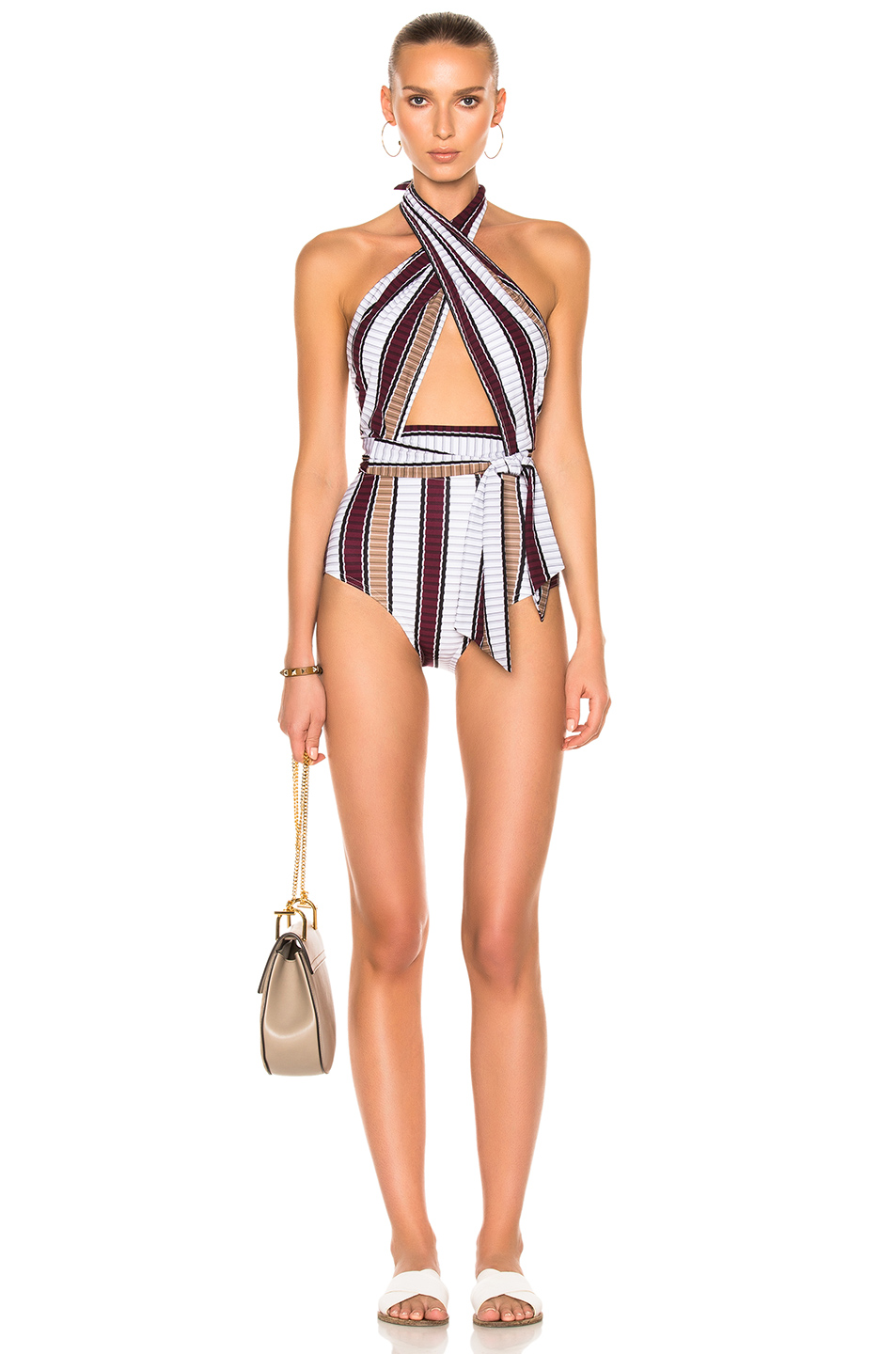 Karla Colletto Palazzo Swimsuit in Neutrals,Stripes,Red