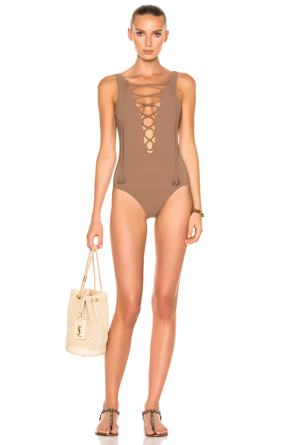 Karla Colletto Entwined Swimsuit in Brown,Neutrals