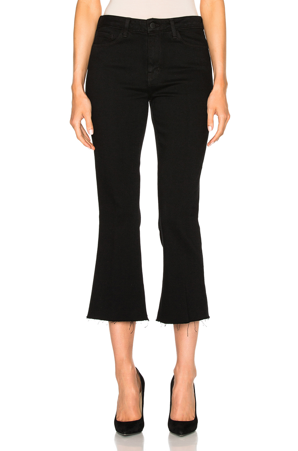 L'AGENCE Sophia High Rise Cropped Flare in Black