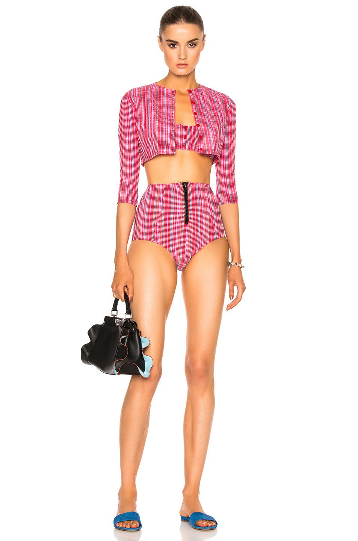 Lisa Marie FernandezGenevieve High Waist Twin Set Bikini in Red,Stripes