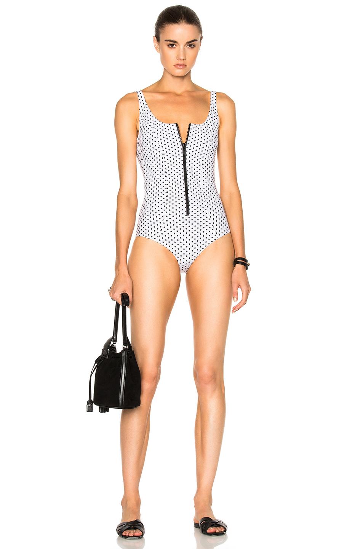 Lisa Marie FernandezJasmine Bonded Swimsuit in Geometric Print,White