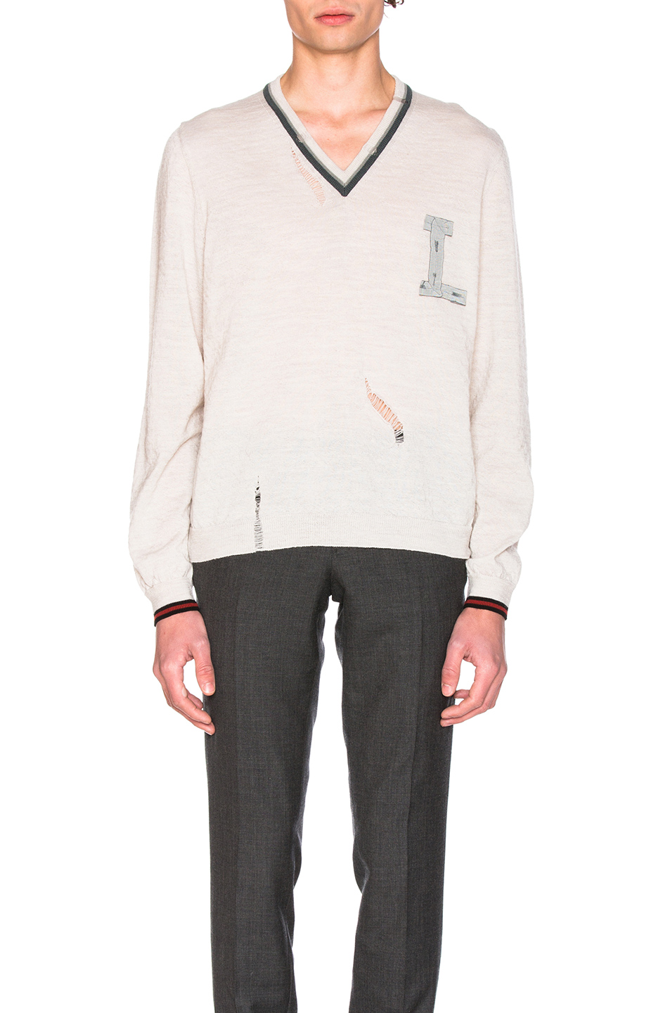 Lanvin Open Stitch Stripe Details V Neck Sweater in Neutrals