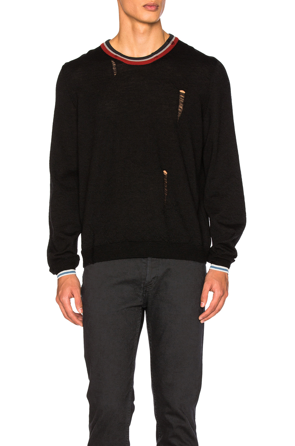 Lanvin Open Stitch & Stripe Detail Sweater in Black