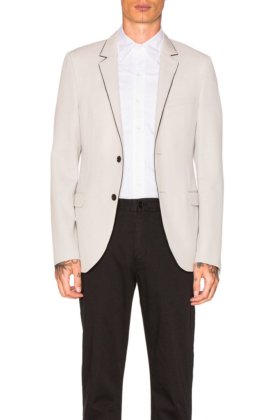 Lanvin Evening Silk Piping Blazer in Neutrals