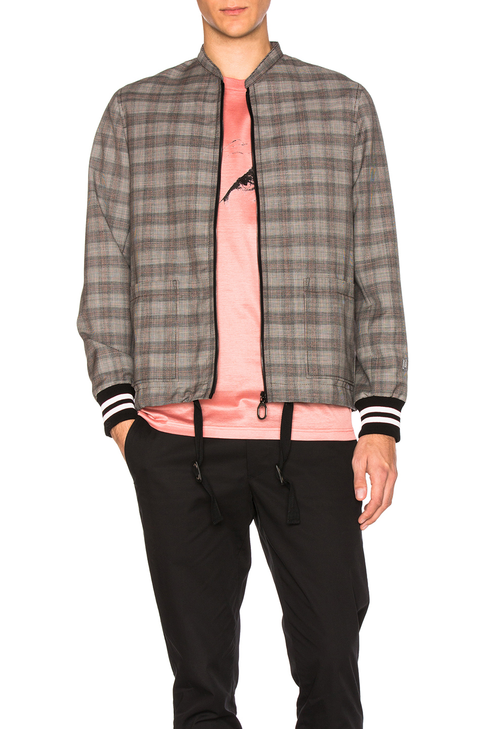 Lanvin Wool Prince of Wales Racing Jacket in Gray,Checkered & Plaid