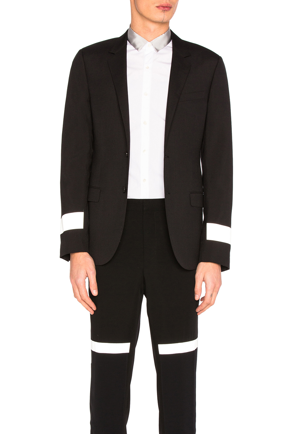 Lanvin Reflective Sleeve Blazer in Black
