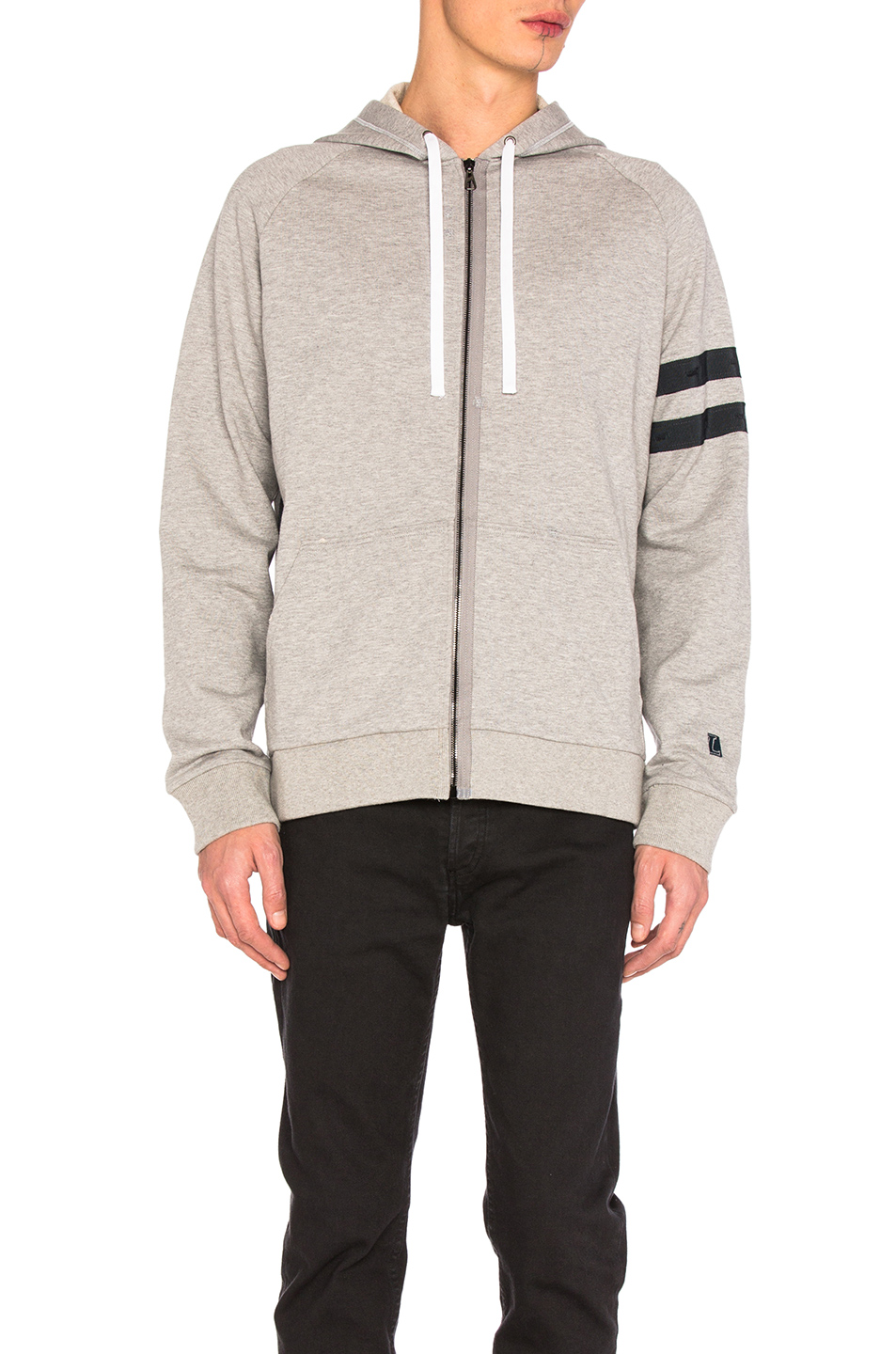 Lanvin Jersey Used Grosgrain Hoodie in Gray