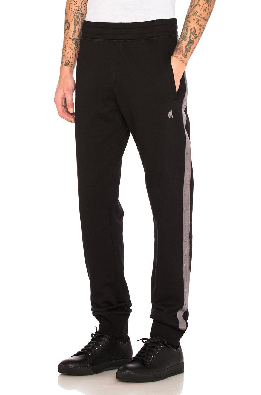 Lanvin Fleece Grosgrain Slim Pant in Black