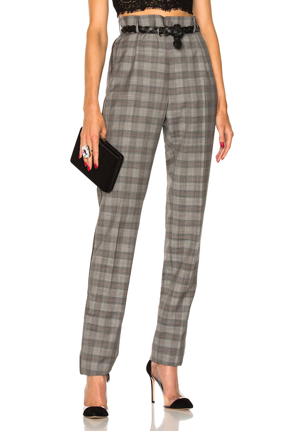 Lanvin Rivet Detail Pant in Gray,Checkered & Plaid